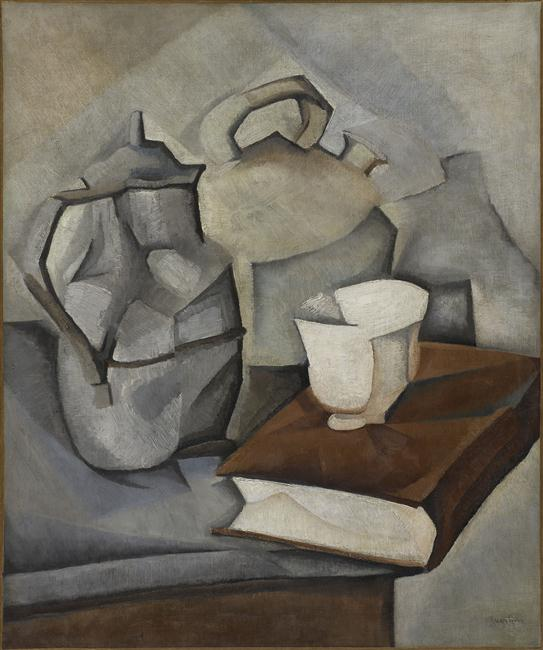 painting in the cubistic style showing a still life of a book, a cup, a kettle and a coffee pot