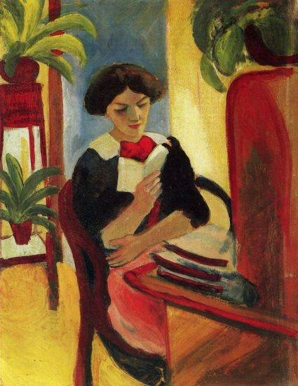 painting of a woman reading at a writing desk