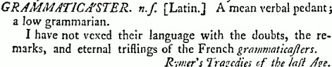 Image showing the lemma for the word grammaticaster in Samuel Johnson's dictionary.