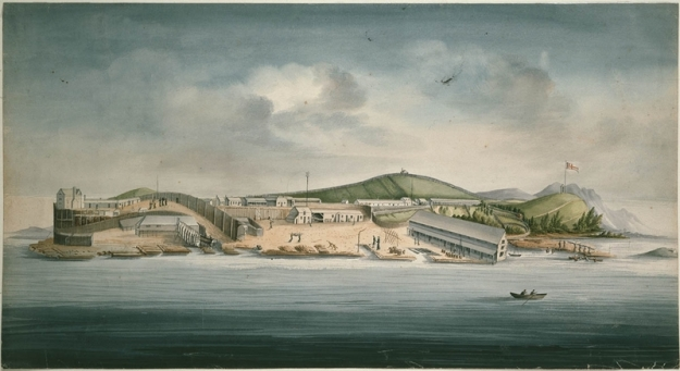 water colour showing the penal colony on Sarah Island in 1833