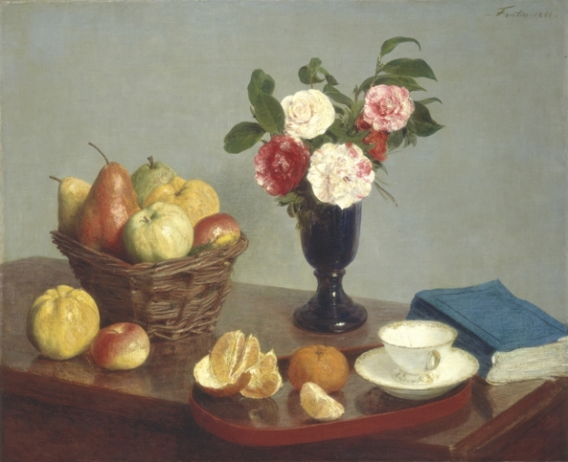 Painting showing a basket of apples and pears, a vase of flowers, a tray with oranges and a empty white porcelain cup, and a blue book on a table