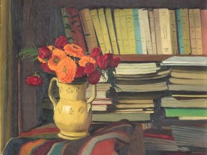 cropped painting of a bookcase full of books and notebooks with a vase of flowers and a colourful rug in foreground