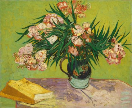 painting of a vase with oleanders and two books on a table