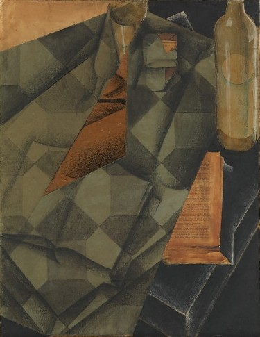 cubist artwork by Juan Gris showing a book and a glass and the figure of a man in a suit