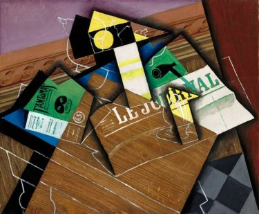cubist painting by Juan Gris showing a green cover of a Fantomas book