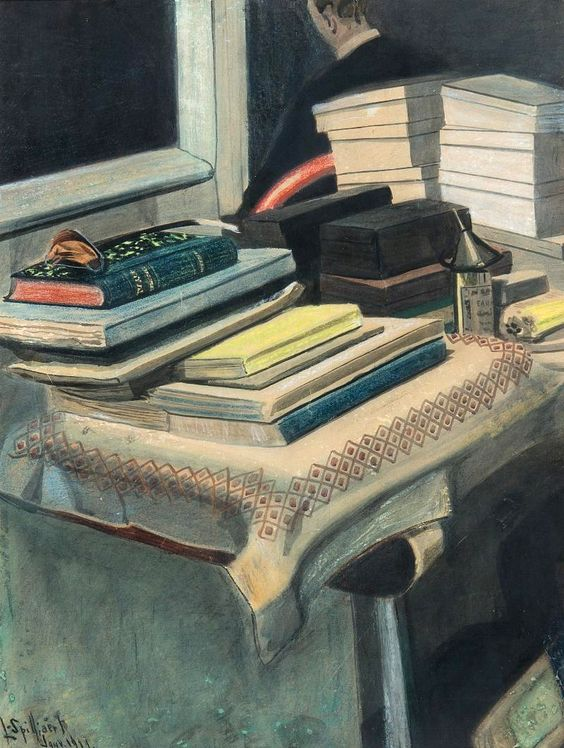 Painting of a table or desk full of books, notebooks and shoeboxes, with the back of a man in suit in the background.