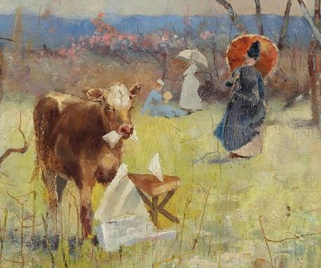 painting showing cow eating a book or a newspaper