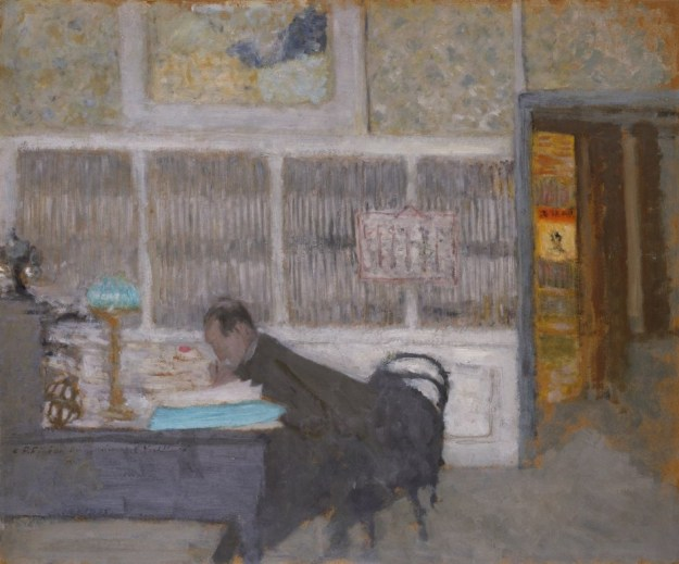 painting of man bent over desk, writing