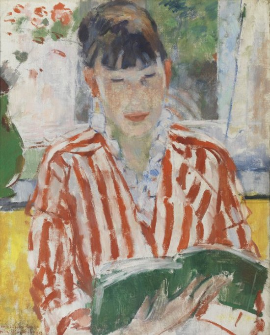 painting of a woman in red-and-white dress sitting in front of a window reading a green book
