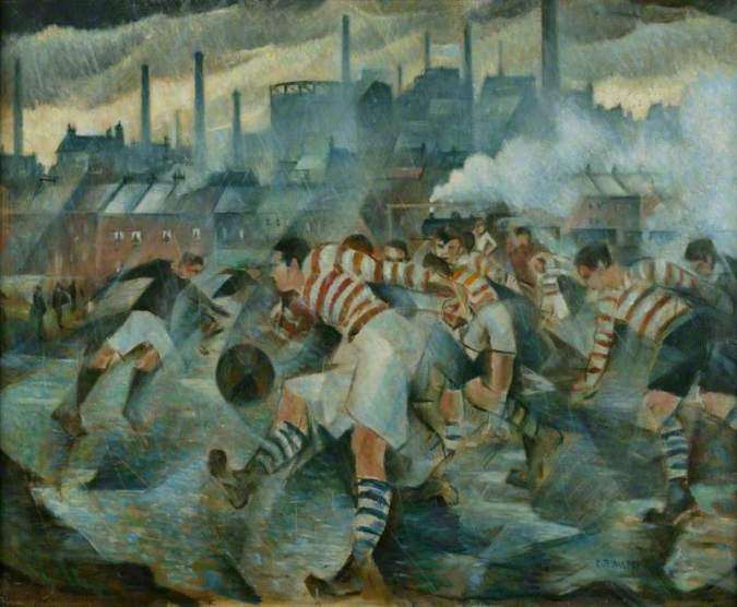 painting of two football teams playing under the smokestacks of an industrial city and under dark grey skies
