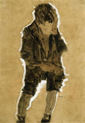 schiele-boy-with-hand-to-face-1910
