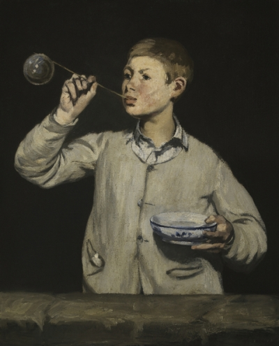 painting of a boy blowing a soap bubble